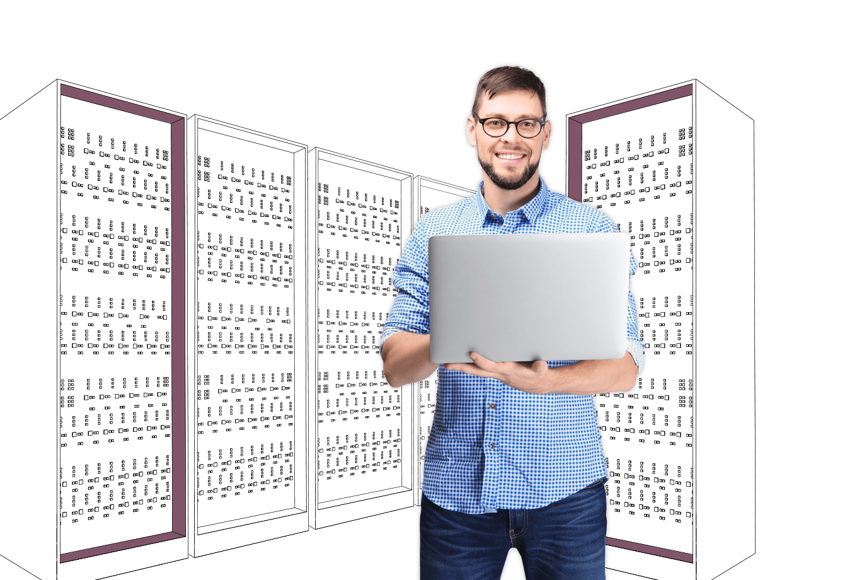 IT office insurance illustration of engineer holding laptop in server room