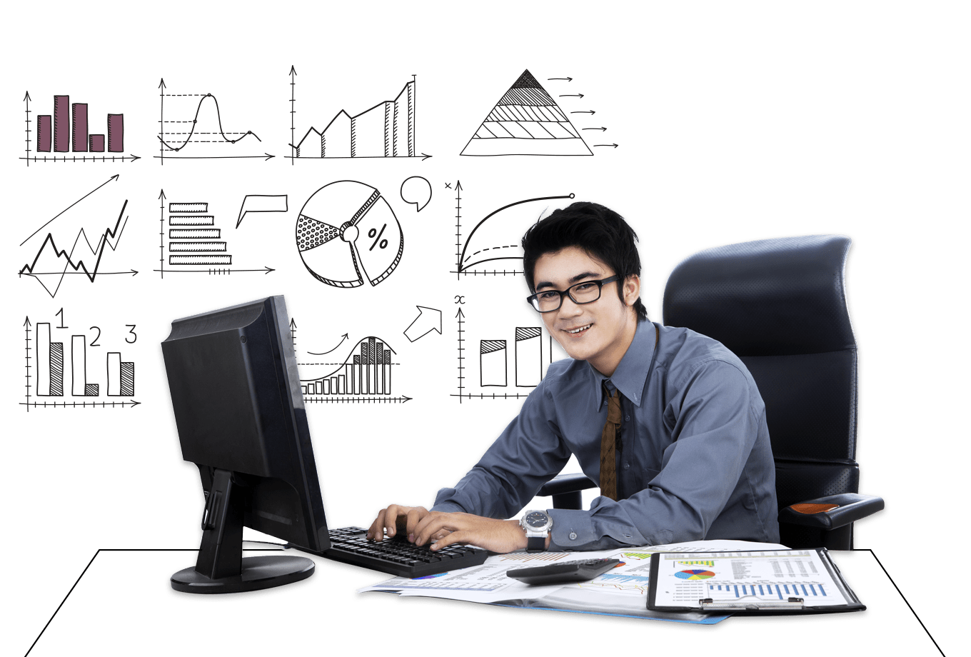 insurance for accountants illustration of office worker surrounded by graphs and paperwork