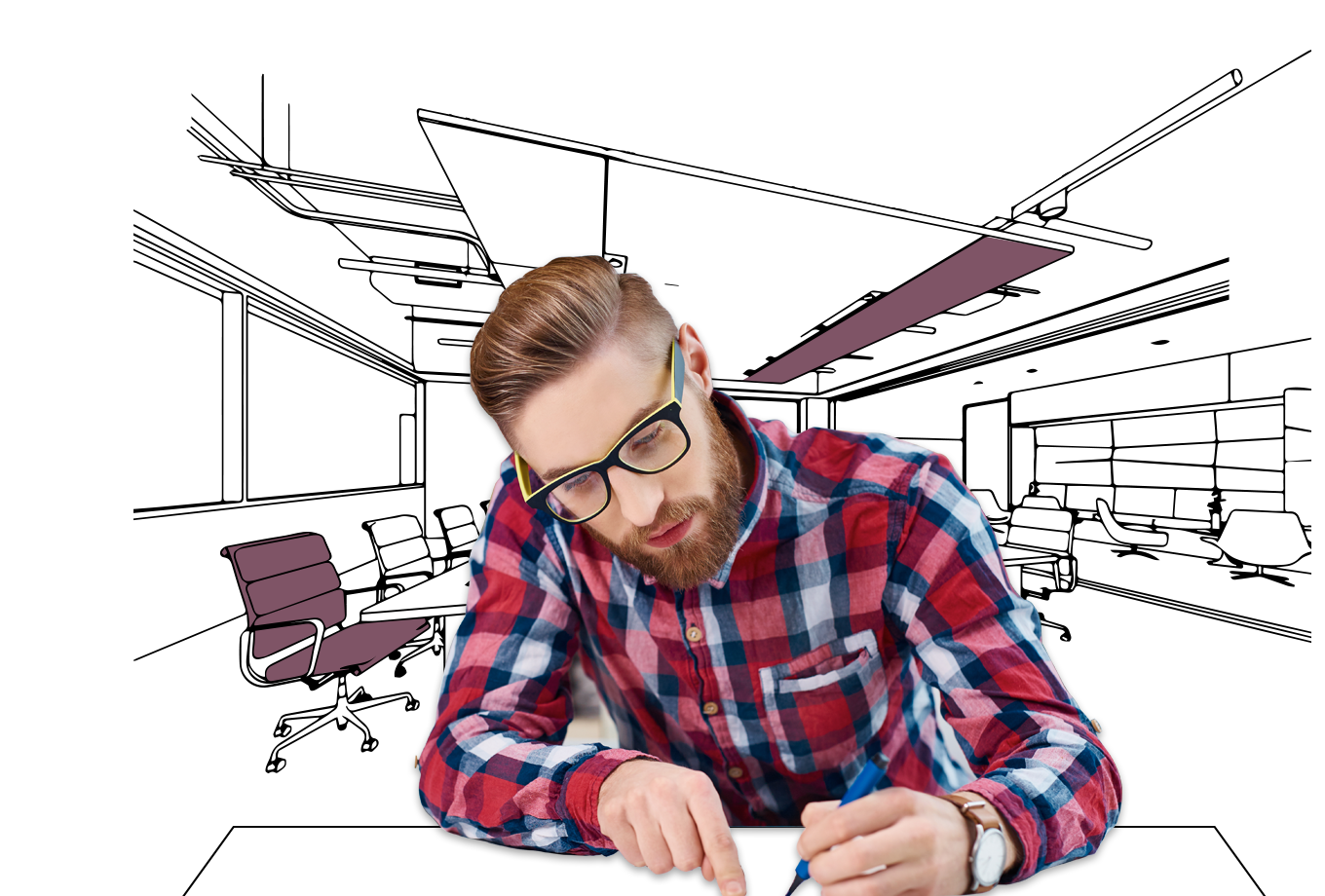 advertising agency insurance illustration of trendy office worker drawing designs