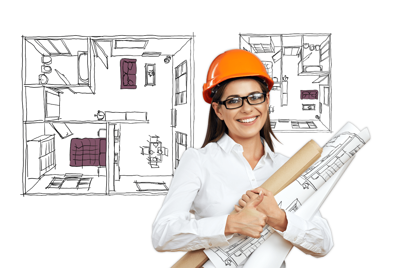 architect insurance illustration of architect holding blueprints