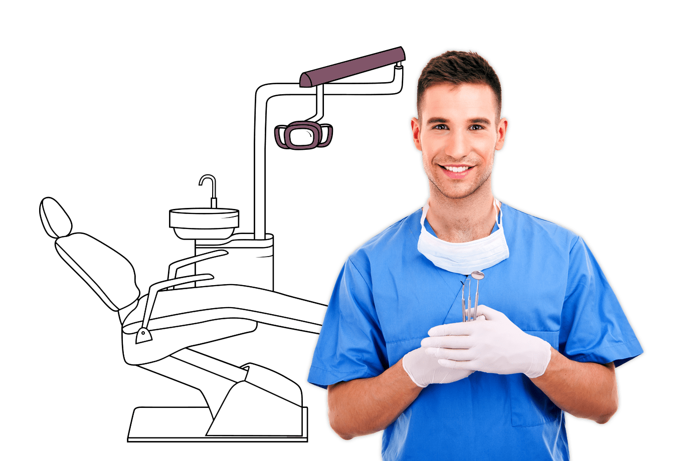 dental surgery insurance illustration of dentist holding dental surgery equipment