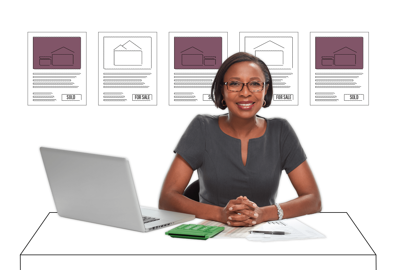 real estate agent insurance illustration of female estate agent sat at desk