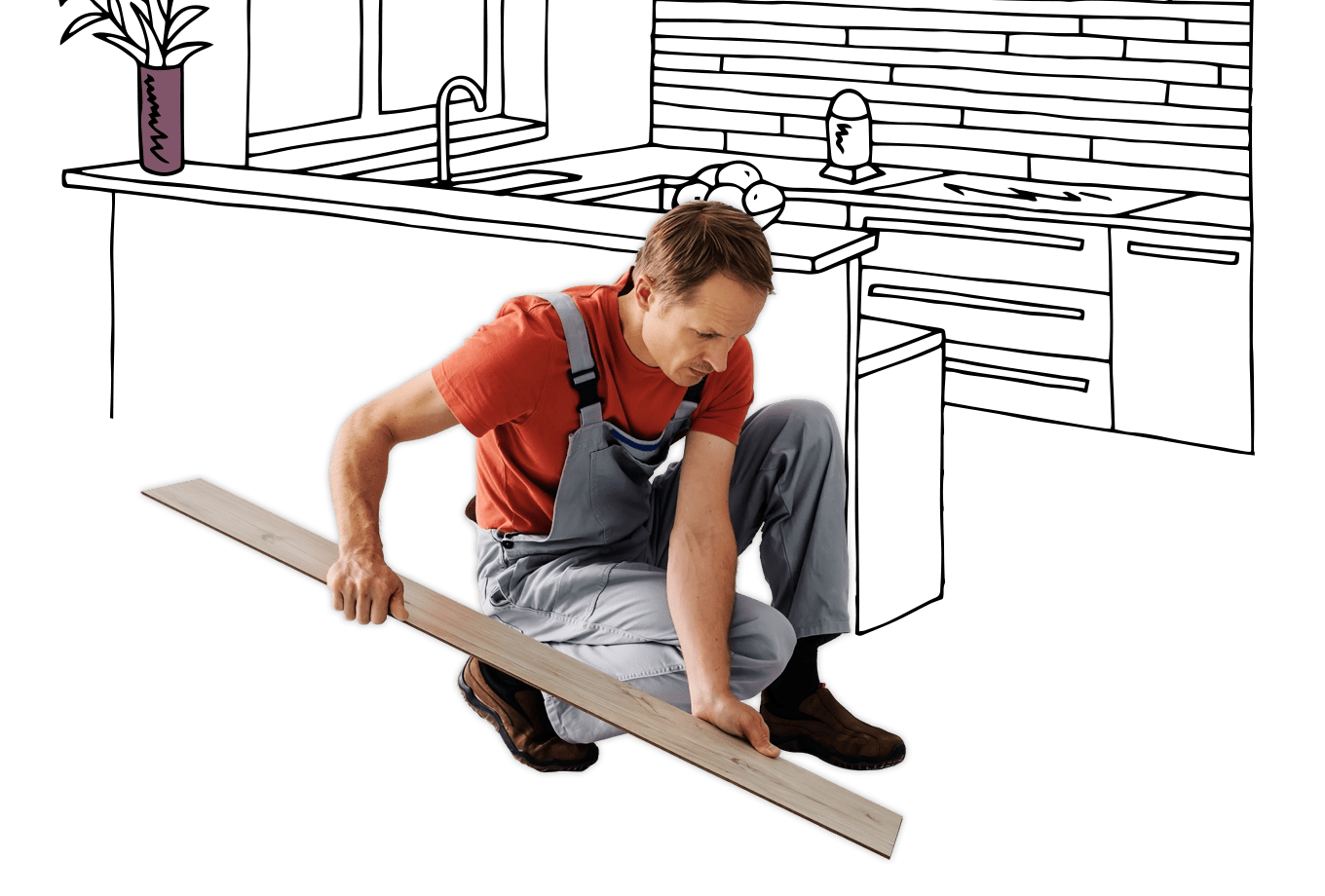 flooring contractor insurance illustration of tradesman laying laminate flooring in kitchen