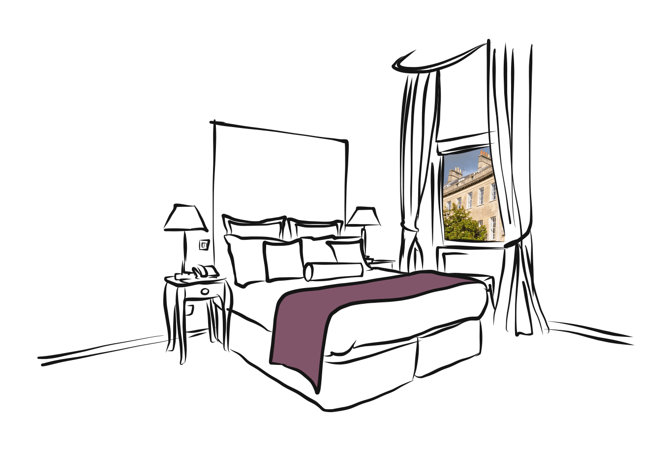 b&b insurance illustration of accomodation with view onto historical building