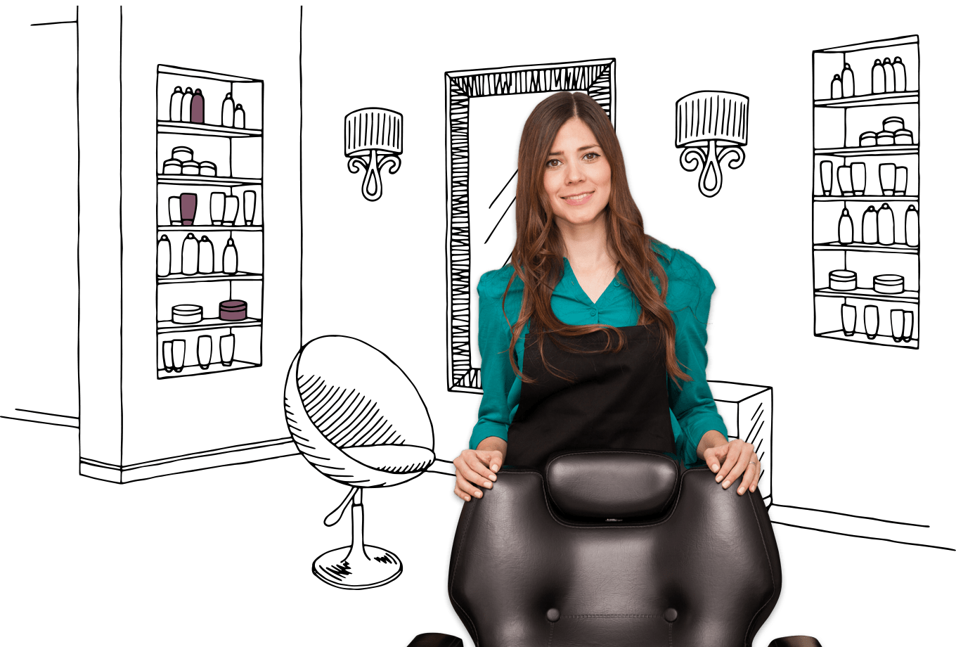 hair and beauty insurance illustration of stylist stood behind salon chair