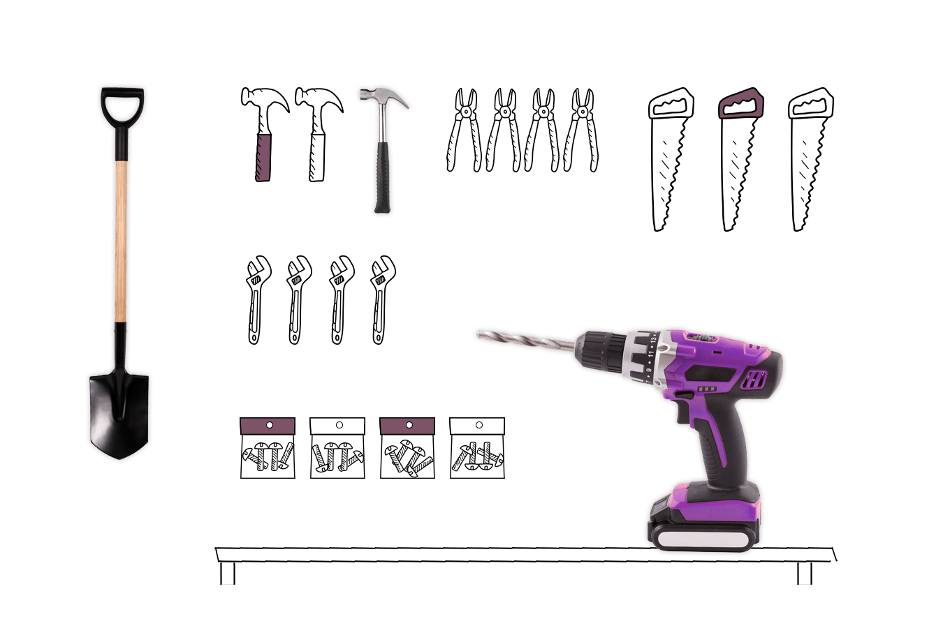 hardware and DIY shop insurance illustration of assorted tools on work bench