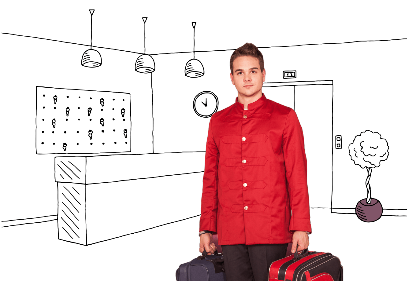 hospitality insurance illustration of porter carrying guest luggage in lobby