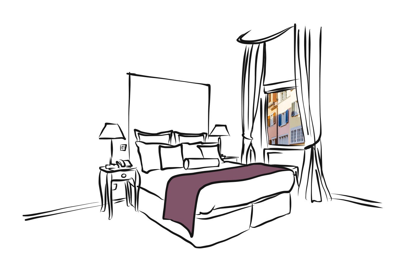 hotel and guesthouse insurance illustration of hotel room with view onto street