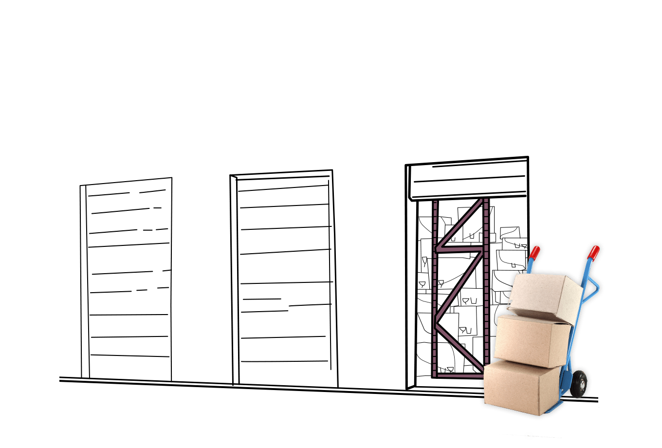 commercial landlord insurance illustration of storage unit