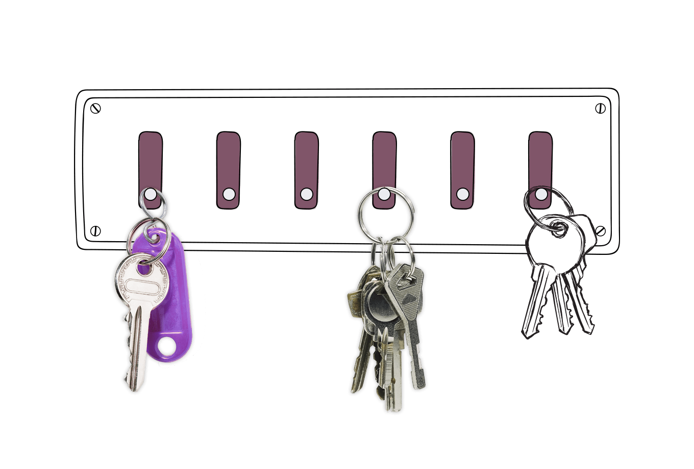 landlord insurance illustration of keys hanging on hooks