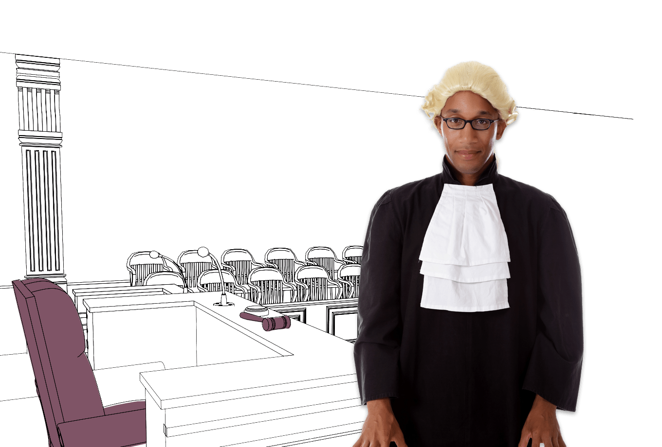 legal services insurance illustration of judge in courtroom