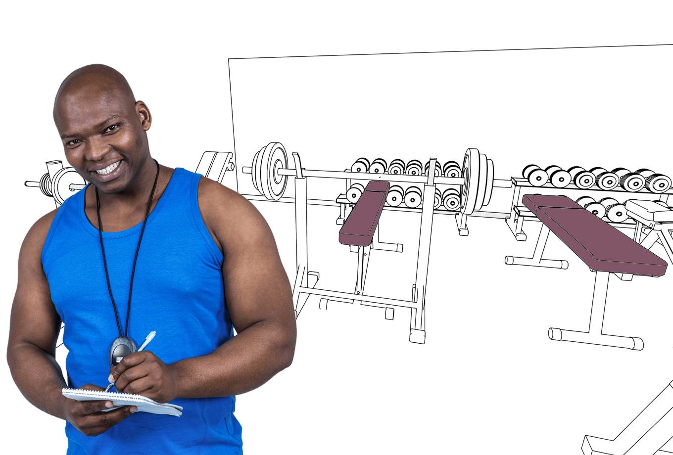 leisure facilities landlord insurance illustration of gym instructor next to exercise equipment