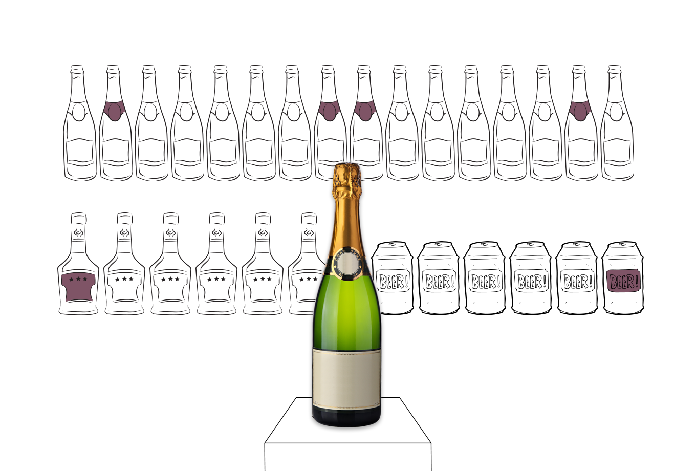 off licence insurance illustration of champagne bottle in front of assorted alcohol