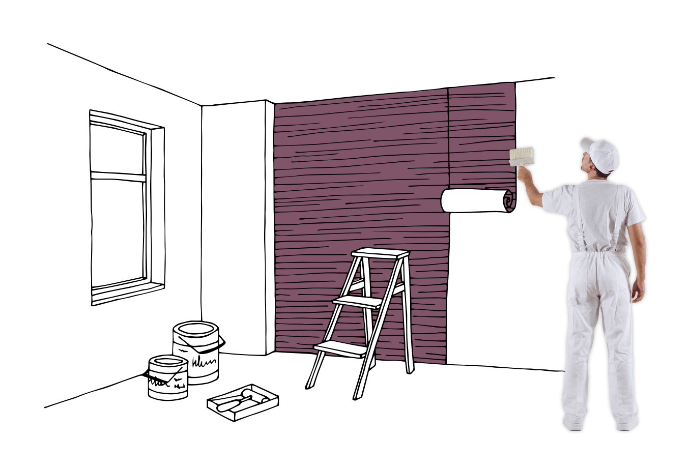 painter and decorator insurance illustration of tradesman affixing wallpaper to wall