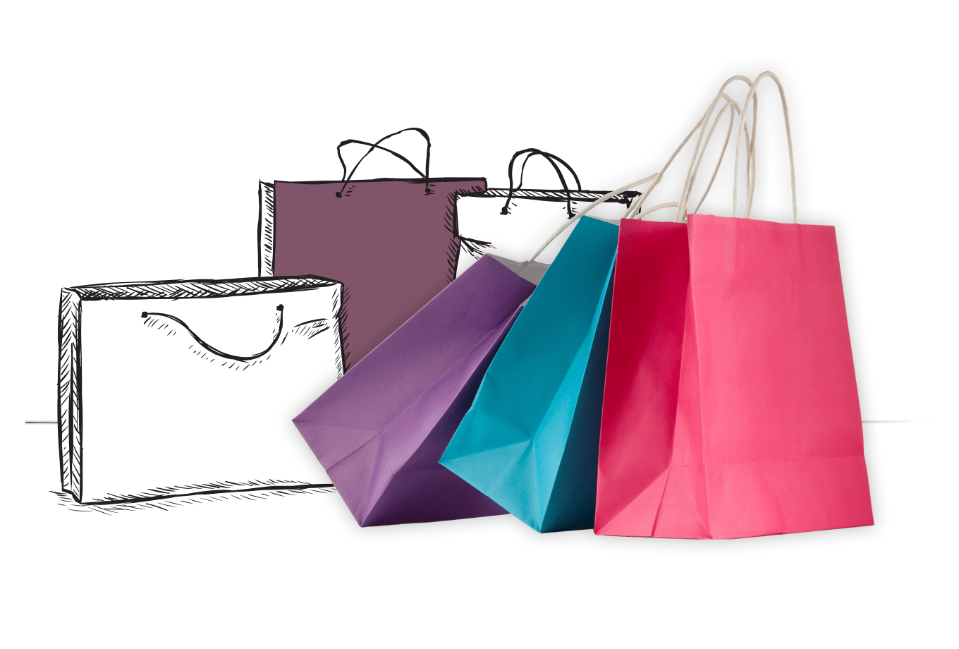 shop cheap insurance illustration of colourful shopping bags
