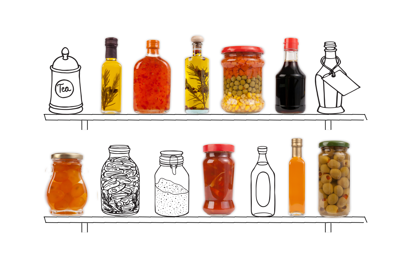specialist food shop insurance illustration of assorted food items in jars