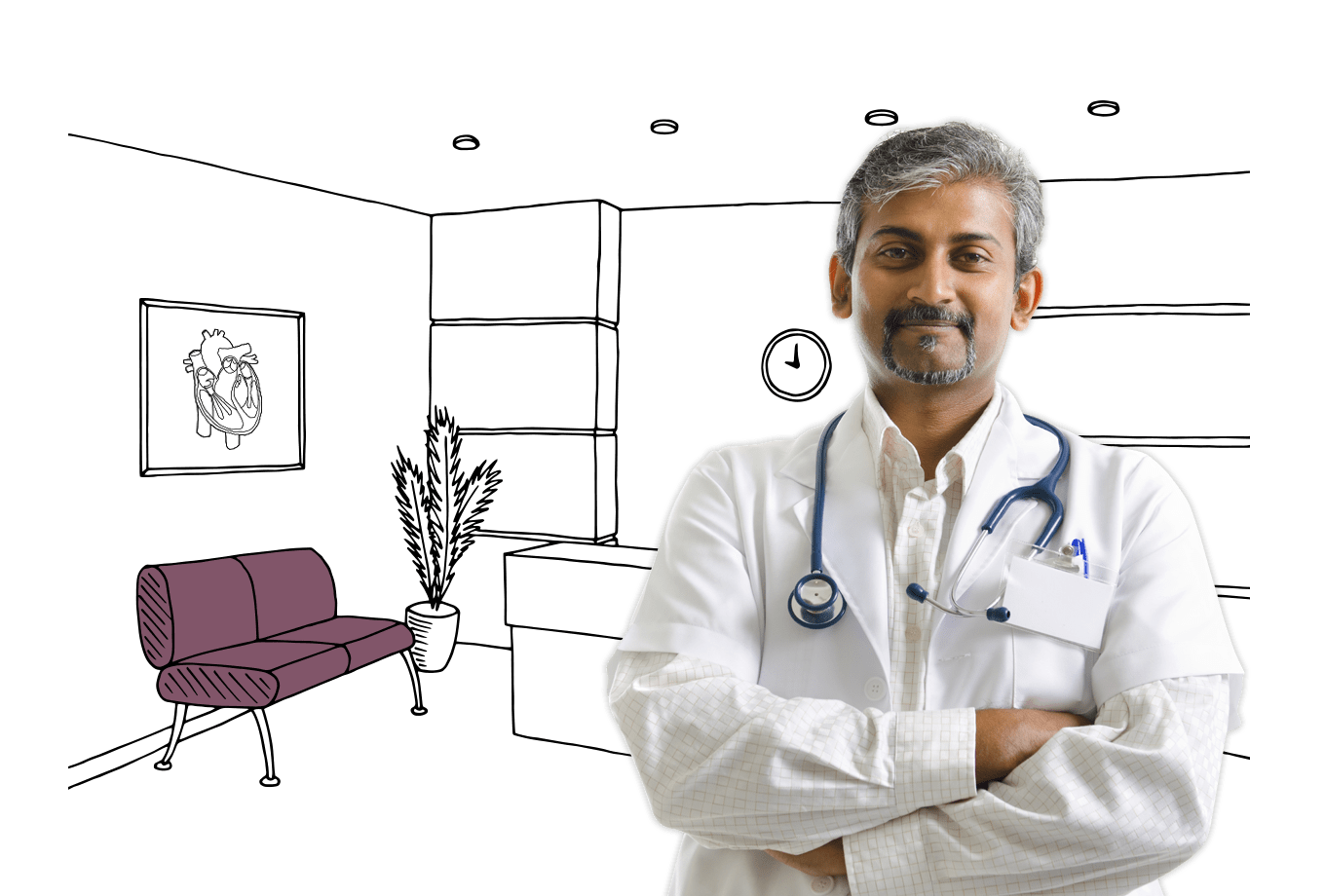 GP and health clinic insurance illustration of male doctor stood in waiting room