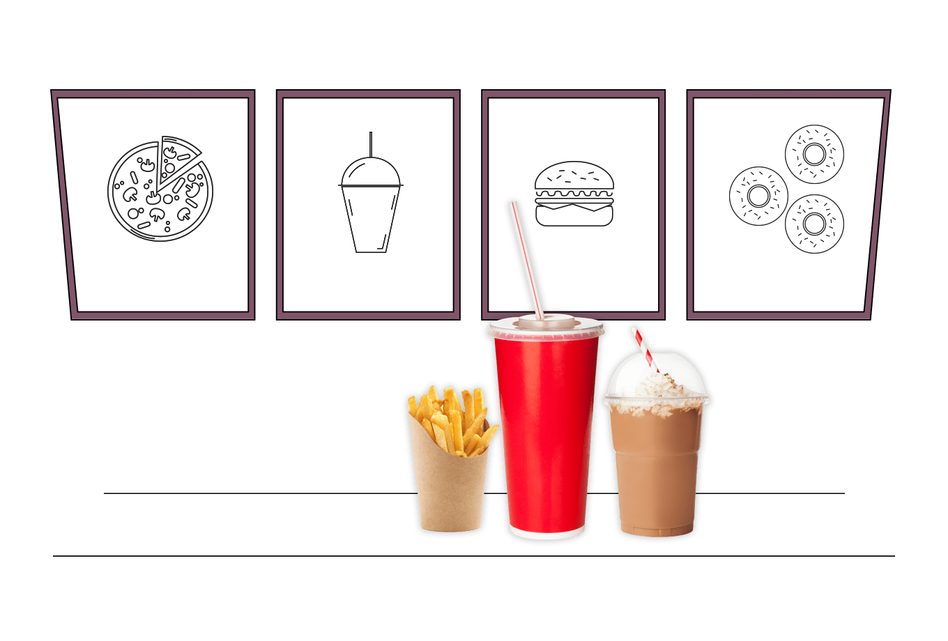 fast-food and takeaway outlets' insurance illustration of drink milkshake and fries