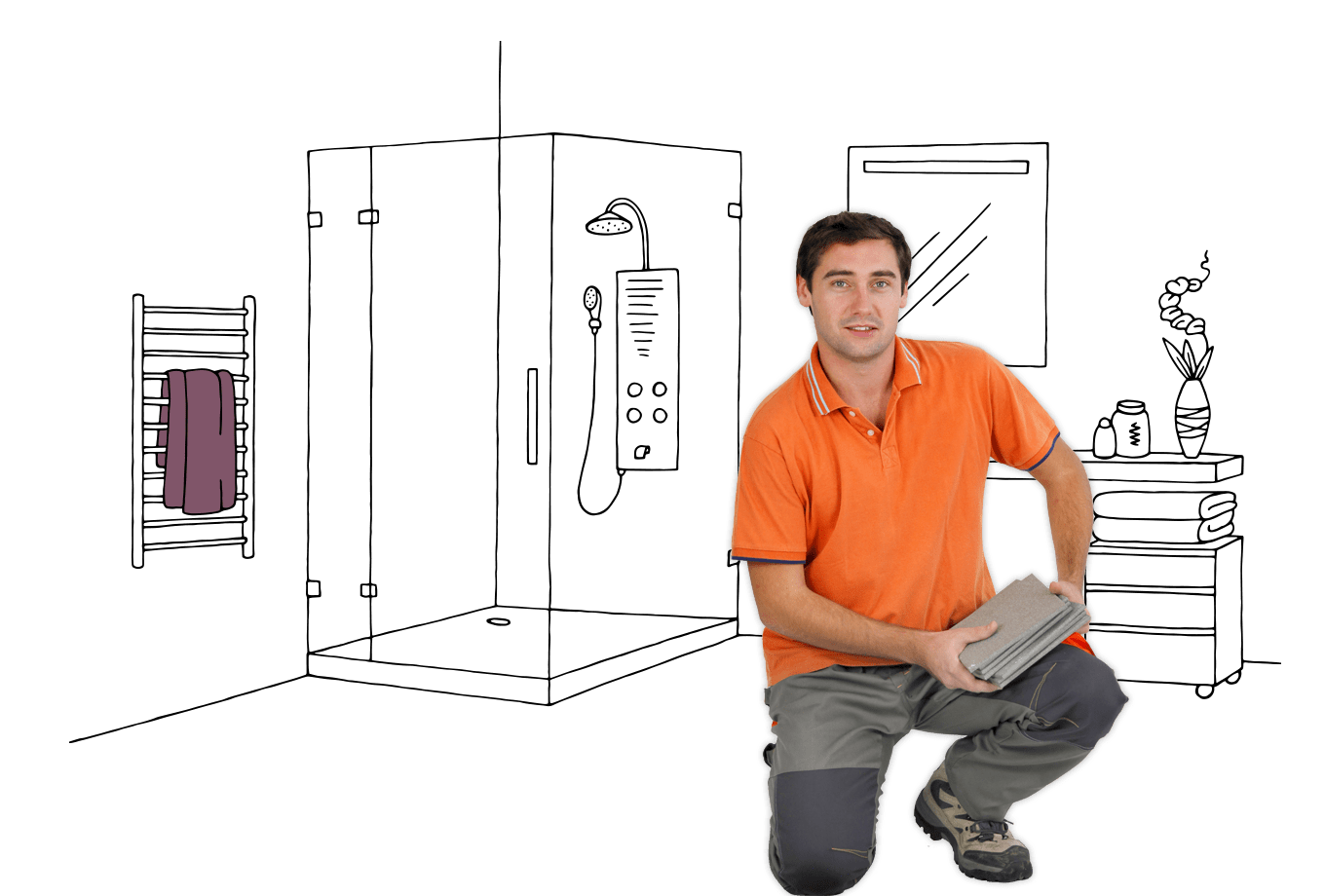 tiler insurance illustration of tradesman kneeling on ground with stack of tiles in bathroom