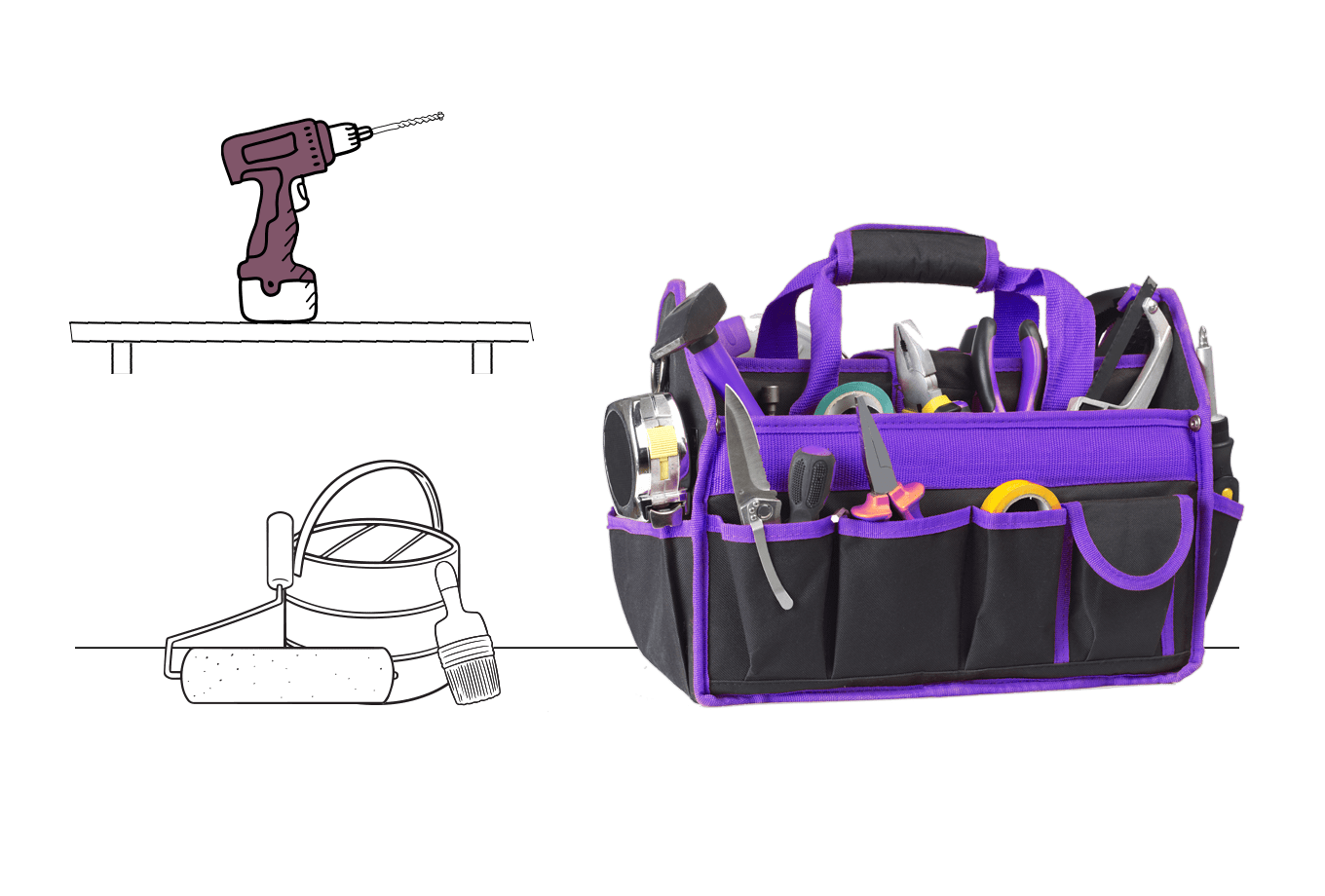 tradesman insurance illustration of tool bag power drill and paint