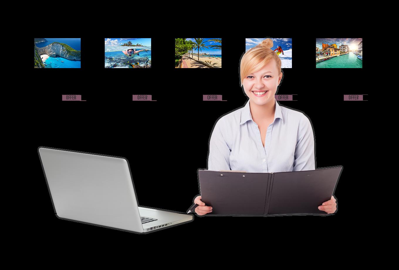 travel agent insurance illustration of salesperson sat at desk