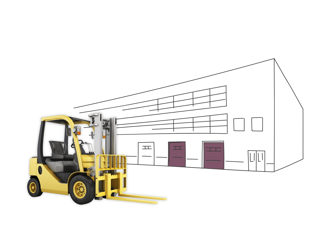 warehouse owner insurance illustration of forklift truck outside industrial building