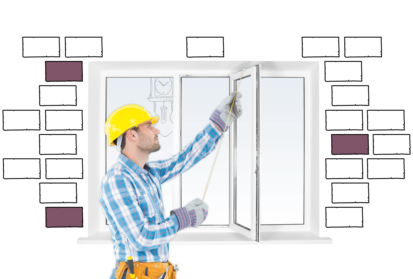 window fitter insurance illustration of tradesman measuring window
