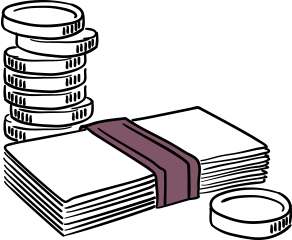 accountant insurance illustration of coins and cash