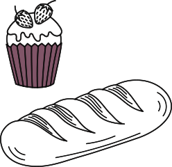bakery insurance illustration of cupcake and baguette