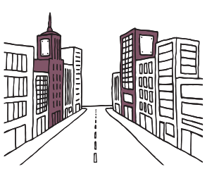 commercial property agent insurance illustration of street lined with commercial office buildings