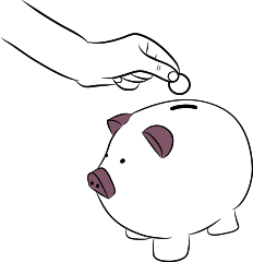 personal investment landlord insurance illustration of person inserting money into piggy bank