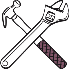 hardware and diy shop illustration of hammer and wrench