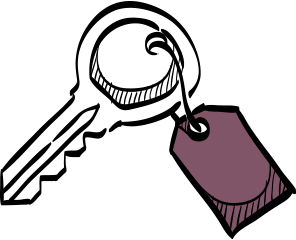 property management insurance illustration of key with label
