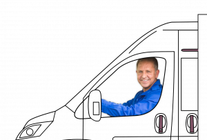 van insurance illustration of tradesman in van