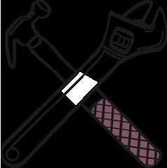 breakdown insurance illustration of hammer and wrench