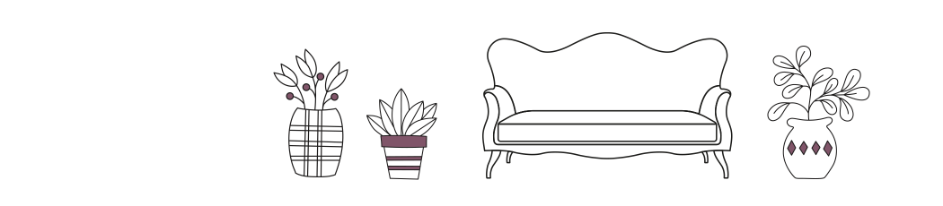 insurance illustration of sofa and plant pots